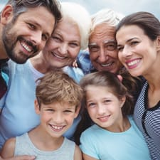 happy multi-generational family