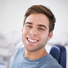 man smiling bright